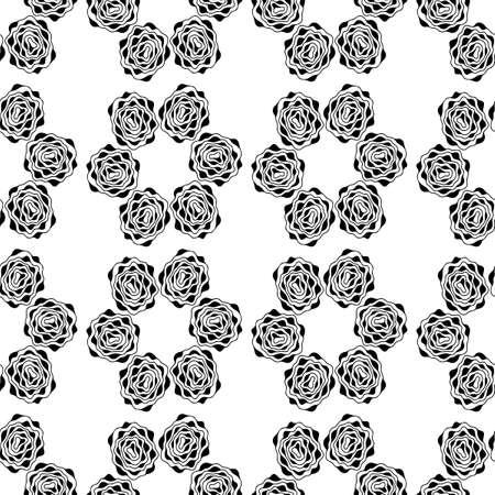 Einfarbiger nahtloser Hintergrund. Einfaches flaches Blumenmotiv. Geeignet für Stoffe. Vektorkonturen und Silhouetten. Vektorgrafik