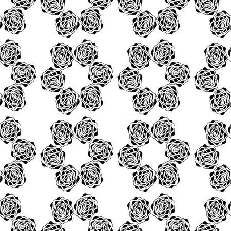 Monochrome seamless background. Simple flat floral motif . Suitable for fabrics. Vector outlines and silhouettes.