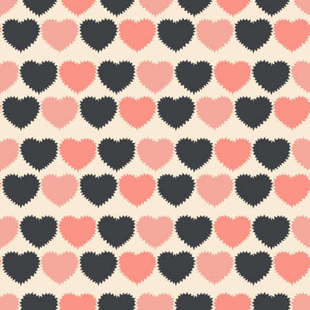 Seamless pattern of Hearts with jagged barbed edges. Flat vector background for fabric, wrapping paper, Wallpaper, stationery, bedding and other surfaces. Black and pink colors.
