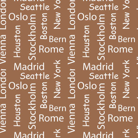 Cities of the world seamless patterns. Vector Typography background. Words in the English language. White letters on a background of Kraft paper.