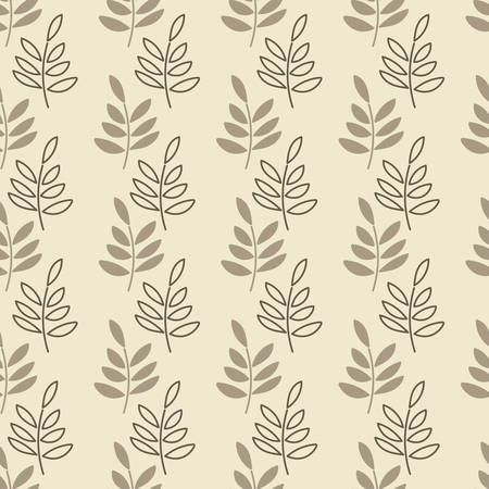 Vector seamless background. Vertical stripes of simple twigs with leaves, silhouettes and contours . Suitable for textiles, Wallpaper and other surfaces Illusztráció