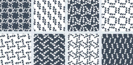 Collection seamless pattern of blue and white backgrounds. Abstract twigs with leaves in the shape of hearts. Different compositions from one element. Vector illustration.