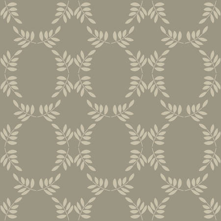 Vector Seamless pattern. Stylized twigs with leaves, classic design, lattice with oval cells. Suitable for textiles, Wallpaper and other surfaces.