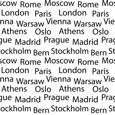 Seamless vector background with names of European cities . Black font on white background