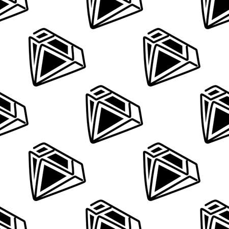 Vector seamless pattern. Crystals or gems on white background, hand drawing graphics.