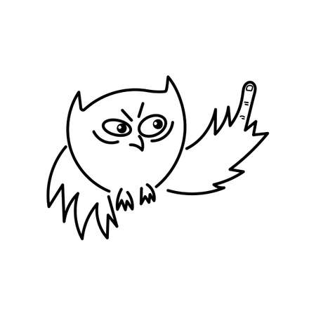 Cute owl shows his middle finger. Fuck you, symbol. Vector illustration Archivio Fotografico - 133759152