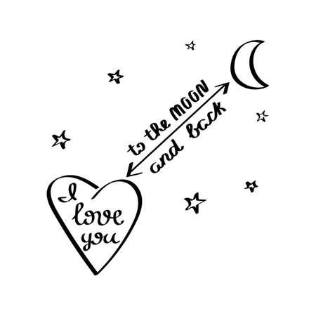 Ich liebe dich bis zum Mond und zurück. Herz und Mond. Handgezeichnete romantische Karten. Vektor.