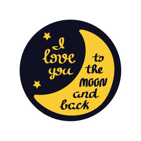 I love you to the moon and back. Hand drawn romantic cards. Vector. 向量圖像