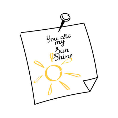 You are my sunshine. Hand drawn cards. Vector illustration on white background 向量圖像
