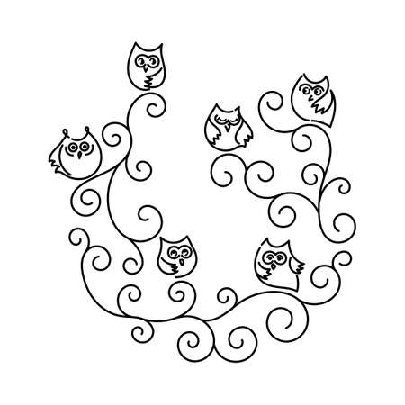 Funny owls on branches in the form of spiral.on branches in the form of spiral. Hand drawn vector.