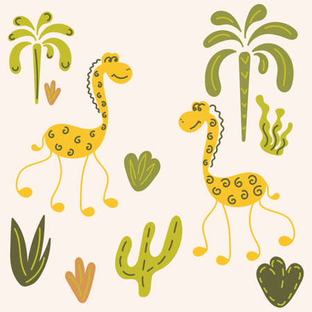 Funny long-necked animals, palm trees, plants. Vector illustration Ilustração
