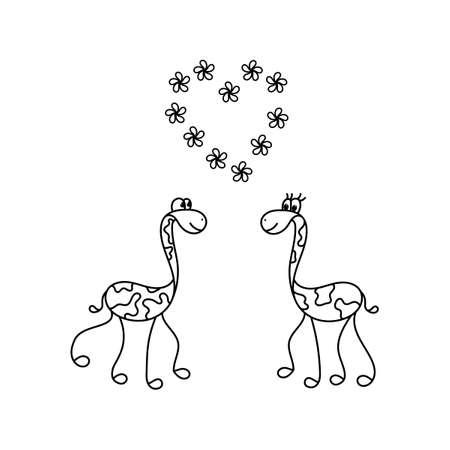 Giraffe family. African animals. Hand drawn vector illustration  イラスト・ベクター素材