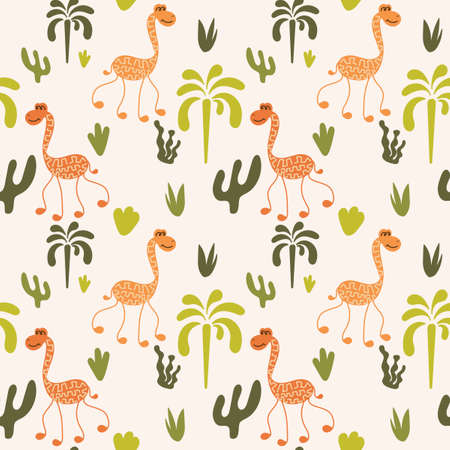 Funny long-necked animals, palm trees, plants. Seamless pattern. Vector illustration