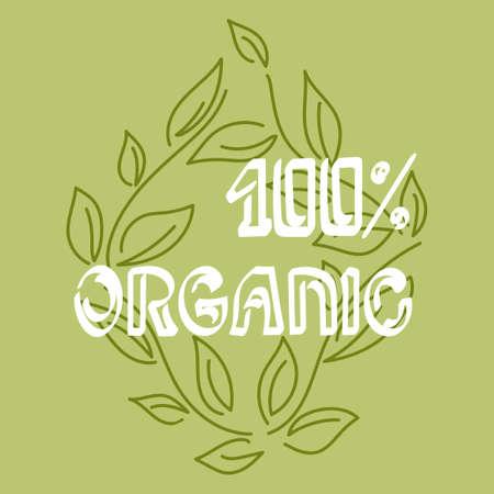 Vector nature emblem. Outline design for poster. Natural symbol, floral card. doodle hand drawn.