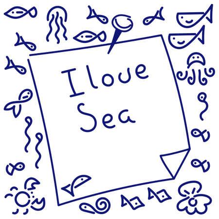 I love sea . Inscription. Doodle Background. Vector Hand drawn illustration