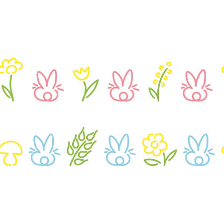Seamless Borders. Cute rabbits, flowers, circles, diamonds. Design for childrens clothing, ribbons postcards Vector