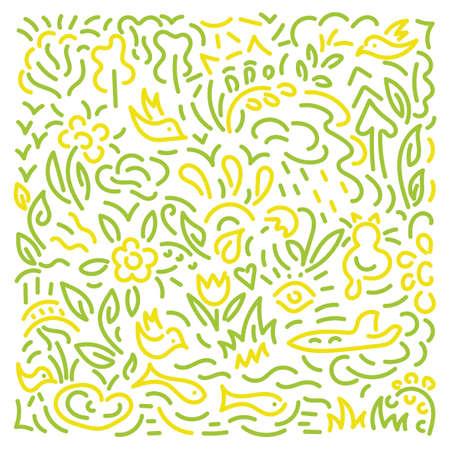 Doodle hand drawing Background. Flowers, leaves, birds Vector pattern Vecteurs