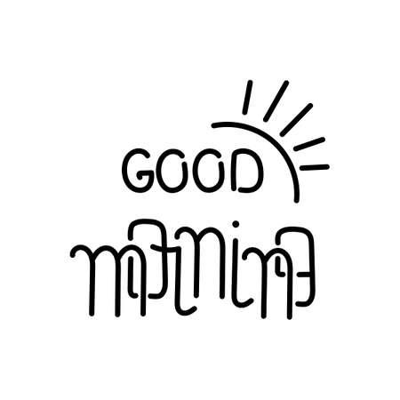 Good morning, inscription. Hand lettering. Vector Hand drawn illustration Ilustração