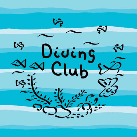 Diver club, hand written. Blue sea. Vector illustration with tropical underwater cave.