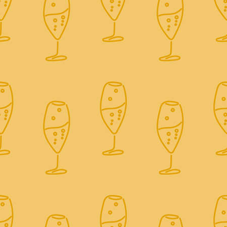Cooking seamless patterns. Glass wine glasses . Festive theme. One Line Drawing. Vector illustration. Illustration