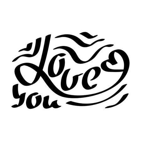 Love you black hand drawn lettering. Vector greeting card, Valentines Day.