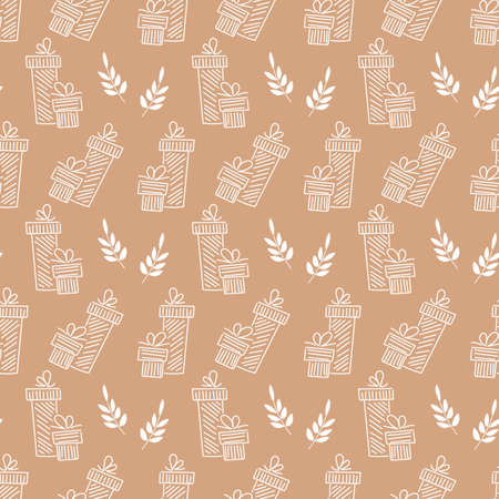 Hand drawn seamless pattern with gift boxes and bows . Doodle line style. Print for packaging, paper, fabric, background for postcards and posters.