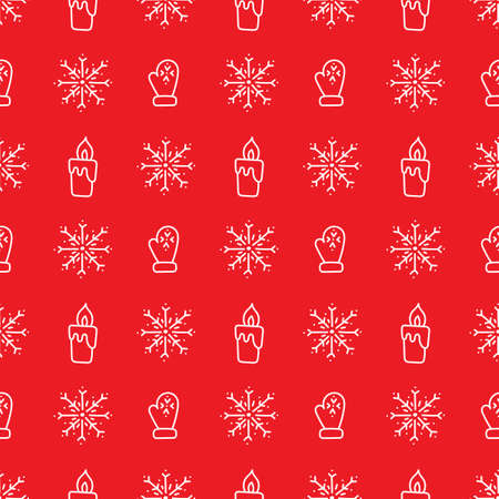 Doodle drawn snowflakes. burning candles, warm gloves on a red background .Vector Seamless background, winter holiday theme.