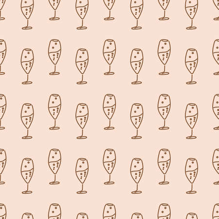 Cooking seamless patterns. Glass wine glasses . Festive theme. One Line Drawing. Vector illustration Иллюстрация