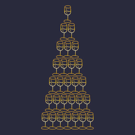 Pyramid of champagne glasses, hand drawn vector illustration. Design template for holiday cards, invitations, posters and more. Illustration