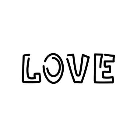Love , handwritten phrases. Hand drawn romantic cards. Vector on white background. Illusztráció