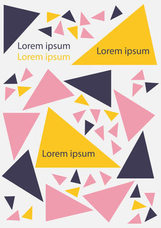 Abstract geometric background texture for poster cover design. Tricolor vector banner template with triangles. Pink, blue, yellow.