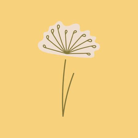 Vector Delicate stylized dandelion flowers . Doodle logo outline design illustration isolated