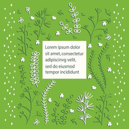Blumenvektorschablonengrußkarte im skandinavischen Stil. Vektor Handgezeichneter Rahmen mit den Konturen der Kräuterpflanzen. Platz für Text. Weiß Grün.