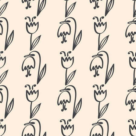 Seamless pattern ornament of cute tulips flowers. Vector illustration outline. Wallpaper, fabric and other surfaces Ilustração
