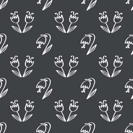 Seamless pattern ornament of cute tulips flowers. Vector illustration outline. Wallpaper, fabric and other surfaces.