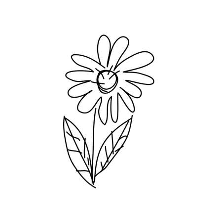 The flower is drawn by a child's hand. Hand drawn Graphic illustration for postcard, poster, publication, article design. Vector illustration