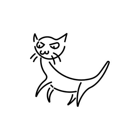 Funny cat . Like a child's hand drawing. Doodle kitten pet. Vector illustration on white background. Illustration