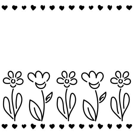 Simple Contour Hand drawn floral pattern . Black and white. Vector illustration. Template design for greeting card, flower sale, seed, poster. Space for text Illustration