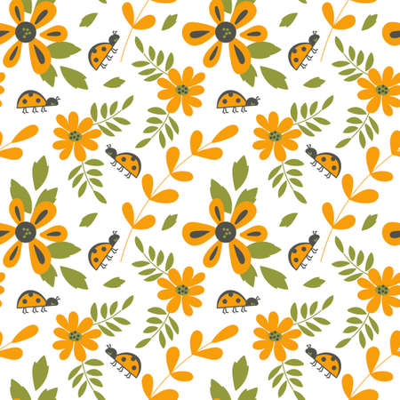Cute ladybugs and simple flowers. Vector Botanical seamless background for baby cloth, paper, scrapbooking and more .