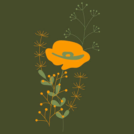 Small bouquets of orange poppy and twigs with leaves. Minimal retro design. Element for registration of cards, invitations and other things. Vector illustration Illustration