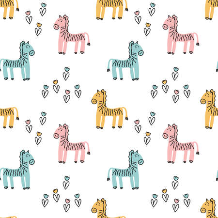 Cute hand drawn Zebra, flowers. Vector seamless pattern with animals on white background. Decorative fabrics, Wallpapers, covers for children .