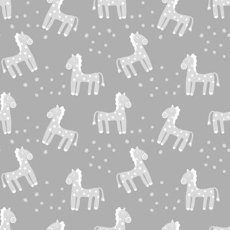 Cute hand drawn Ponies. Vector seamless background with animals, pastel colors . Decorative fabrics, Wallpaper, covers for children