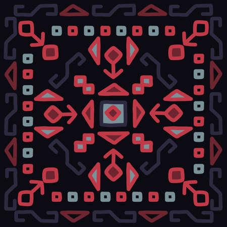 Oriental mosaic square rug kilim. Traditional geometric ornaments. Vector original design.