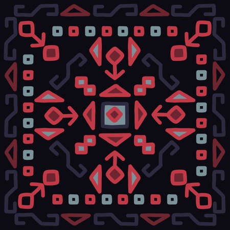 Oriental mosaic square rug kilim. Traditional geometric ornaments. Vector original design. Illustration