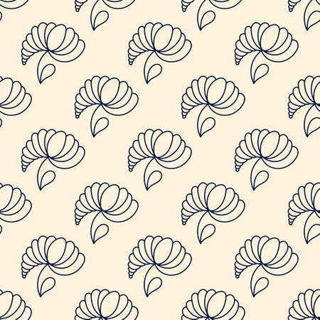 Hand drawn vector seamless pattern with abstract flowers, line art. For fabric, paper and other surfase. Ilustracja