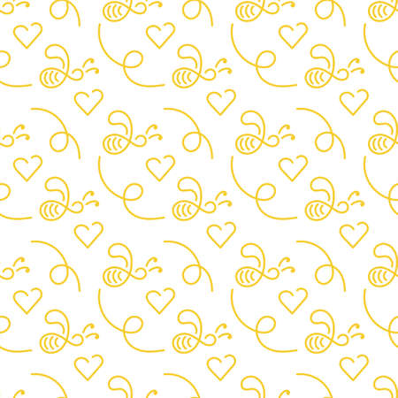 Cute doodle bee and heart. Vector seamless pattern on white background, hand drawn illustration .