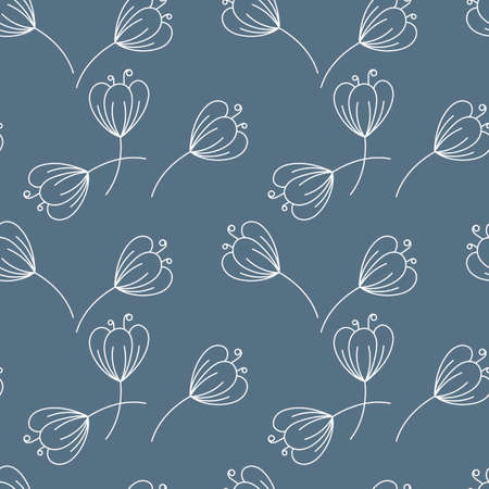 Seamless pattern. Contours of simple flowers with stem. Vector Hand drawing, monochrome.