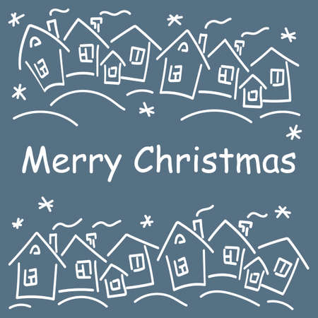 Winter Christmas houses. Merry Christmas text. Vector drawing, white on blue background. Banque d'images - 134690669