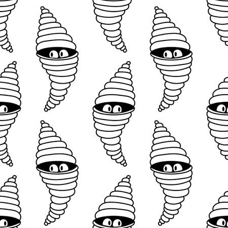 Cute monsters peek out of their cocoon. Hand drawn vector illustration, seamless pattern.