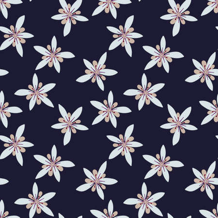 Vector Seamless pattern of cocoa flowers on a dark blue background. Hand drawn botanical pattern. Иллюстрация